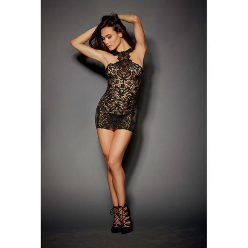Lace & Stretch Spandex Mesh Versatile Chemise w/Adjustable Ribbon & G-String Black LG