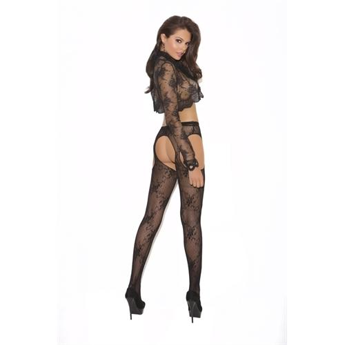 Lace Suspender Panty Hose - One Size - Black