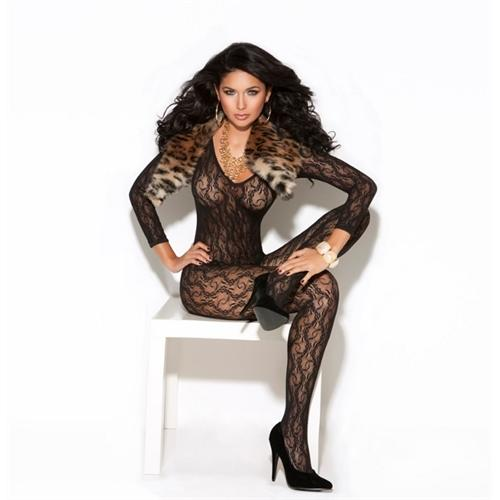 Long Sleeve Lace Body Stocking - One Size - Black