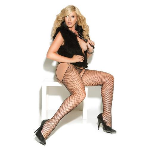 Vivace Diamond Net Suspender Pantyhose Black QN