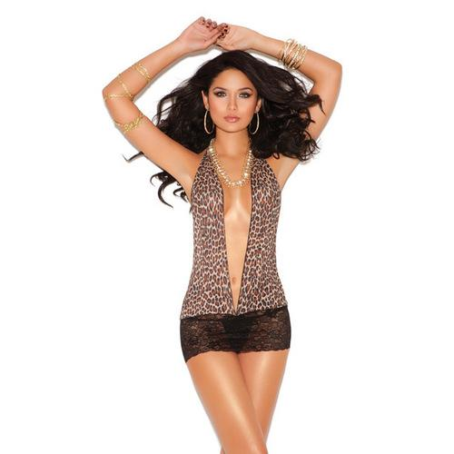 Vivace Mini Dress w/Lace Skirt Leopard O/S