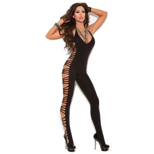 Vivace Deep V Opaque Bodystocking w/Cut Out Side Detail Black O/S