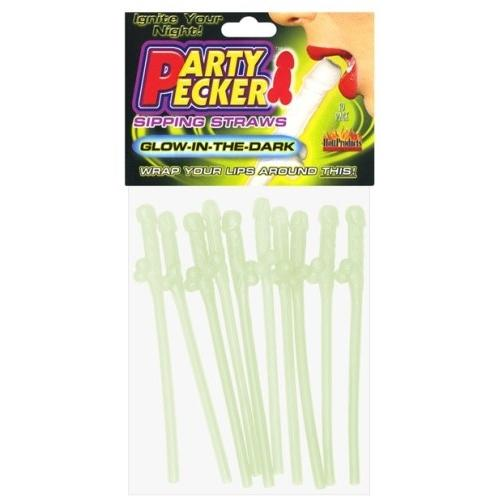 Party Pecker Sipping Straws - Glow in the Dark -10 Pc Bag