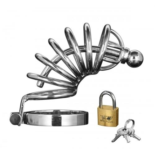 Asylum 6 Ring Locking Chastity Cage - Medium-Large