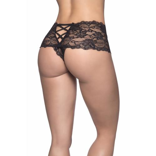 Crotchless Lace Boyshort - 1x2x - Black