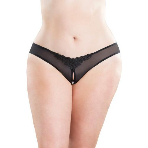 Crotchless Thong w/Pearls Black 3X/4X