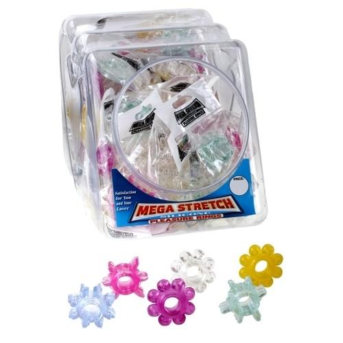 Mega Stretch Silicone Pleasure Rings - 72 Piece Fishbowl