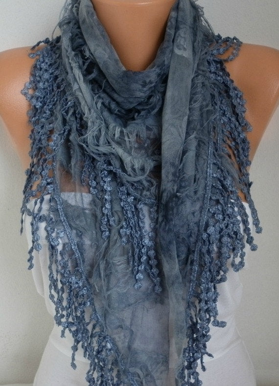 Handmade Turkish Gray Printed Scarf - In Style Bangles