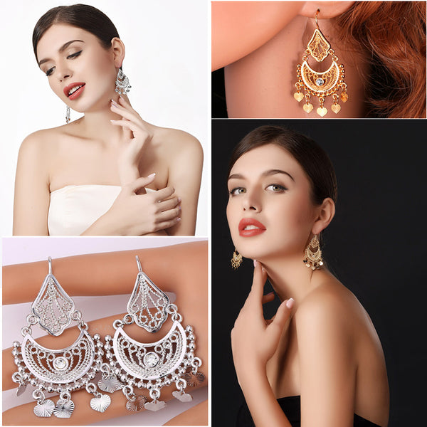 Indian Style Rhinestone Tassel Earrings - In Style Bangles