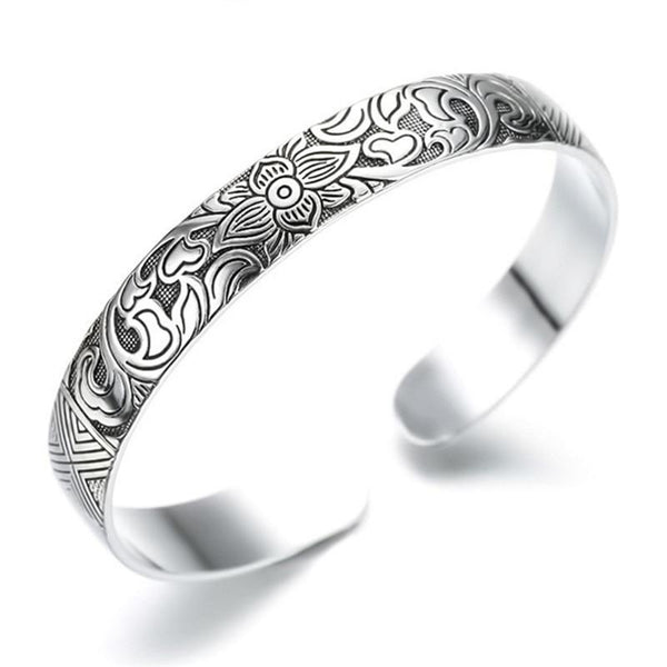 Thai Silver Lotus Bangle - In Style Bangles