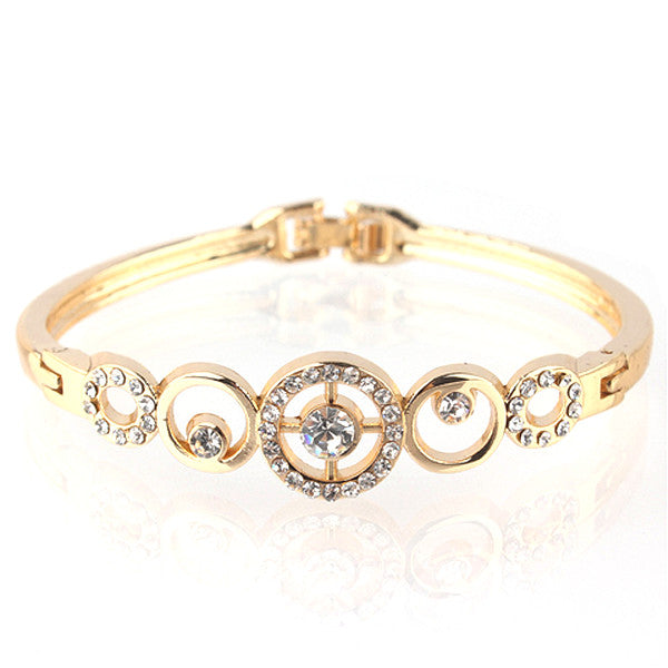 Gold Plated Crystal Bangle - In Style Bangles