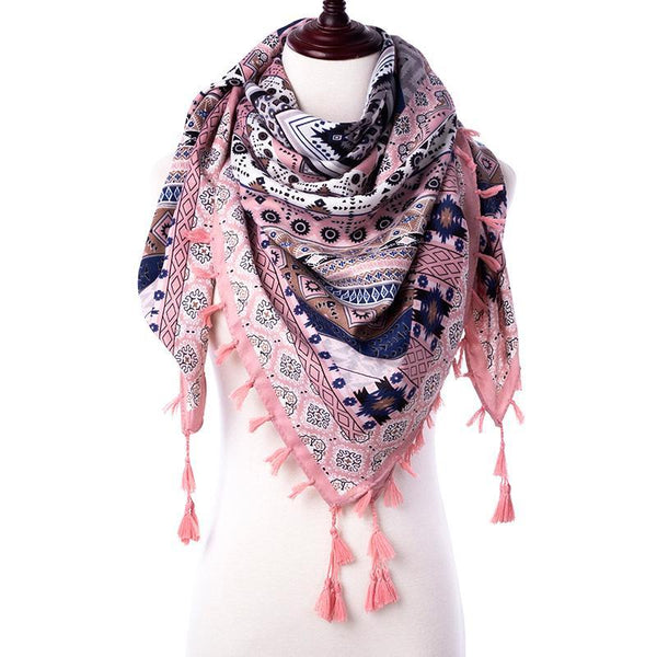 Tassel Printed Scarf - In Style Bangles