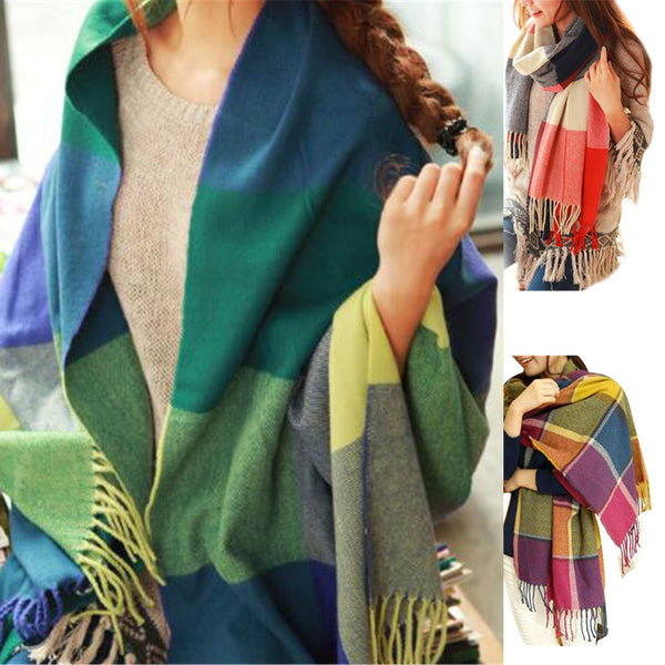 Plaid Style Wool Scarf and Shawl - Assorted Colors - In Style Bangles