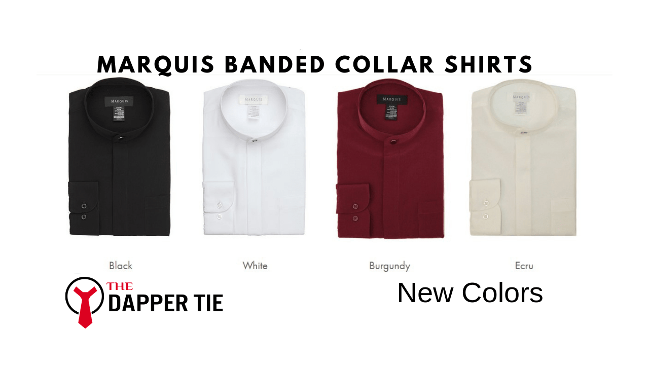 banded collar dress button shirts