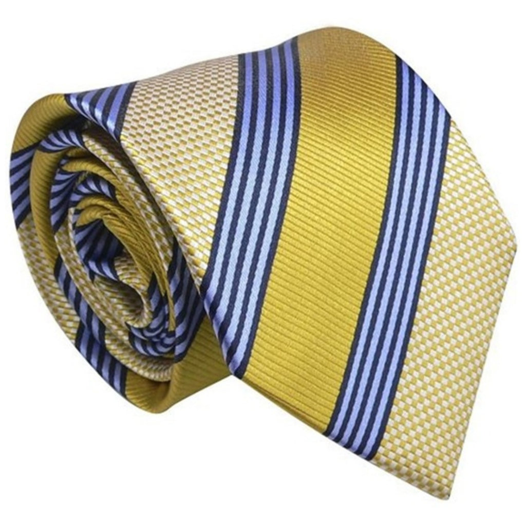 Stripes 3.25 Inch 100% Silk Neck Tie Set