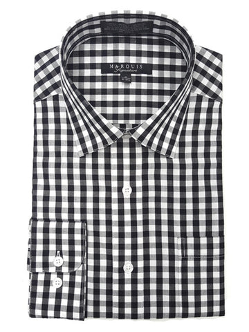 Marquis Men's Gingham Checkered Long Sleeve Modern Fit Dress Shirt