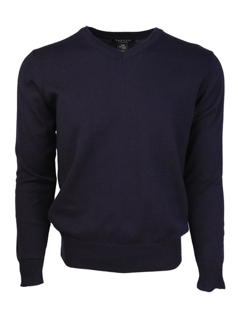 Modern Fit Solid V-neck 100% Cotton Sweater
