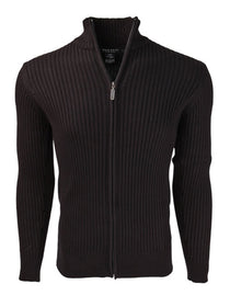 Marquis Men's Black Full Zip Ribbed Mock Turtleneck Cardigan Sweater