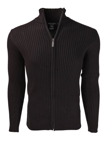 Full Zip Ribbed Mock Turtleneck 100% Cotton Cardigan