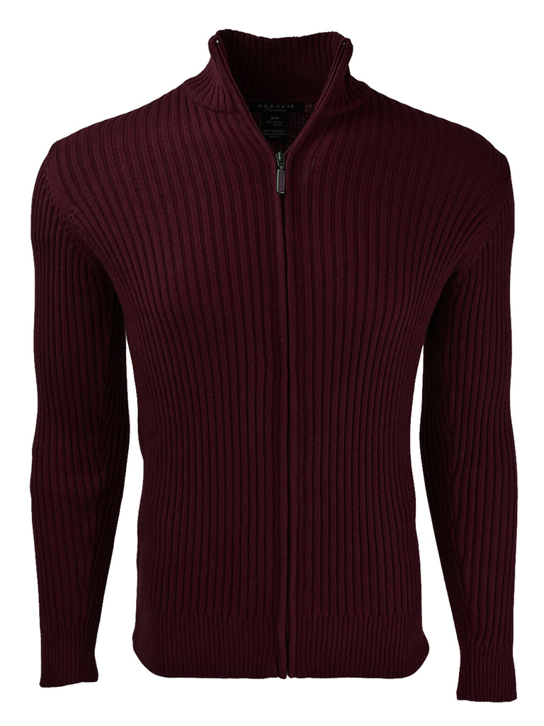 Men's Burgundy Mock Neck Sweater