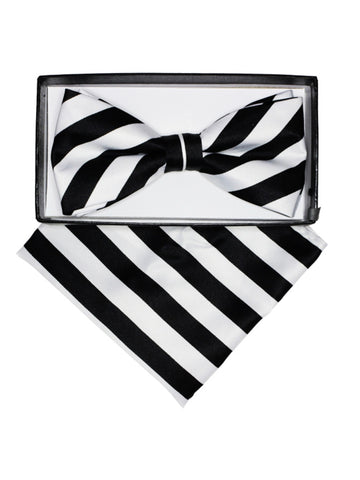 Stripes Pre-tied Adjustable Bow Tie With Hanky