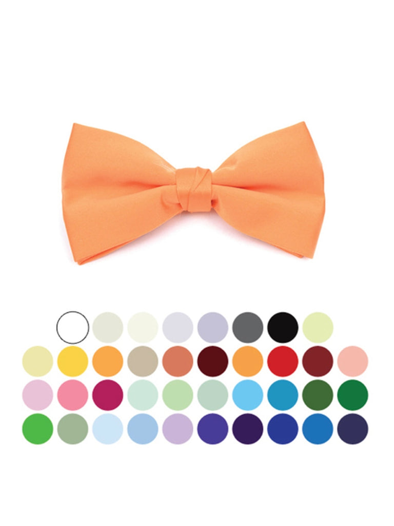 Young Boy's Pre-tied Clip On Bow Tie - Formal Tuxedo Solid Color