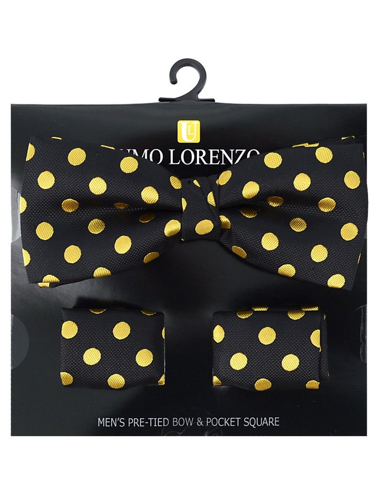 Men's Black And Gold Polka Dots Pre-tied Adjustable Length Bow Tie & Hanky Set