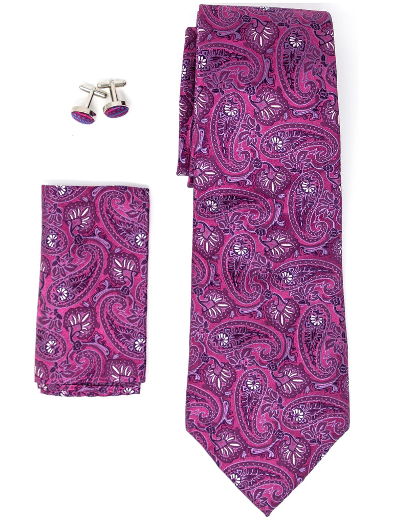 Fuchsia And White Paisley