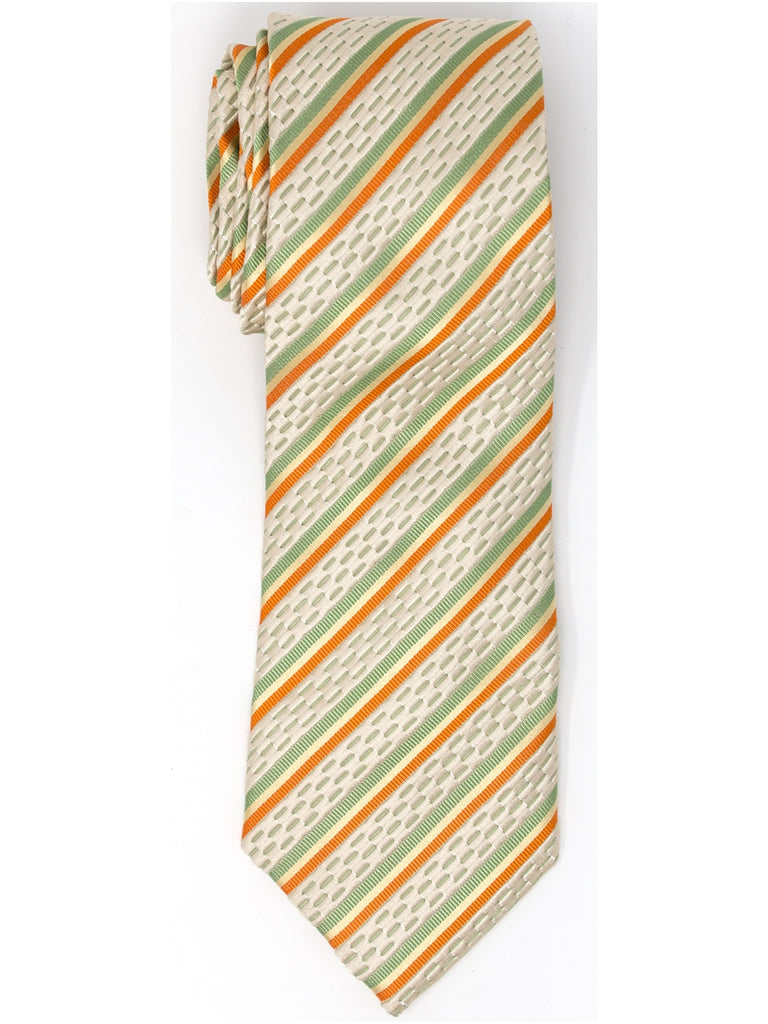 Beige, Orange And Green Stripes