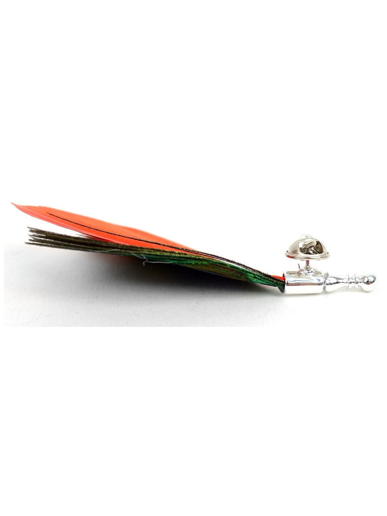 Peacock Feather Lapel Pin with Clutch Back
