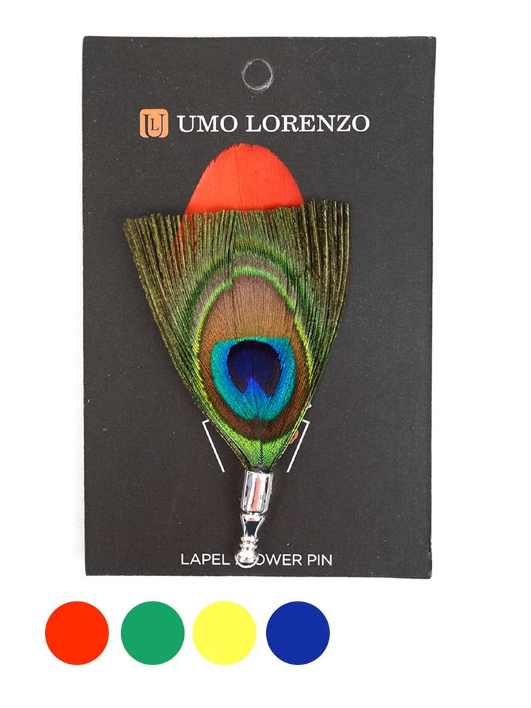 Men's Peacock Feather Lapel Pin with Clutch Back