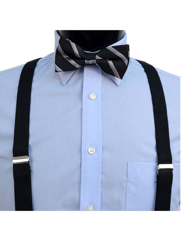 3 PC Clip-on Suspenders, Bow Tie & Hanky Sets