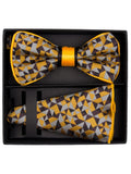 Banded Bow Tie & Pocket Square With Piping