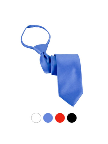 Men's Solid Color Pre-tied X-Long Zipper Neck Tie