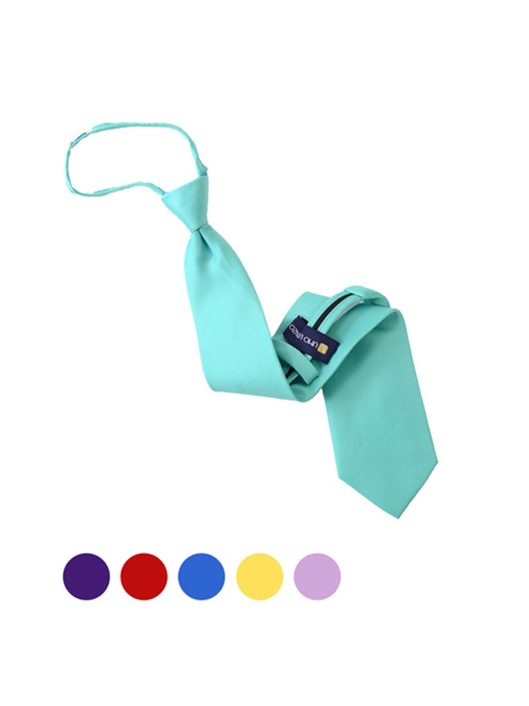 Men's Solid Color Pre-tied Zipper Neck Tie