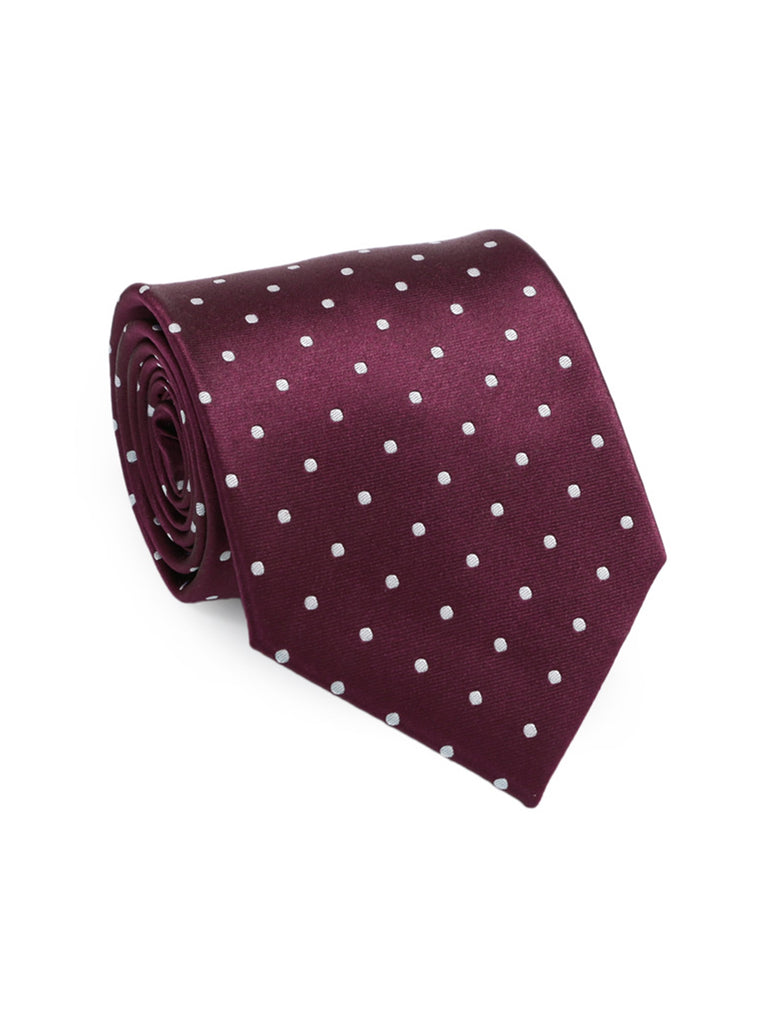 Polka Dots Burgundy And White