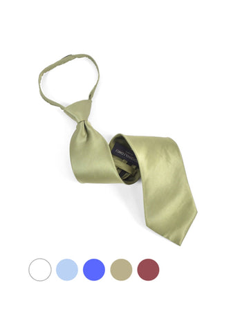Men's Silk Solid Color X-Long Pre-tied Zipper Neck Tie