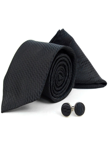 Men's Black Textured Poly Woven Wedding Neck Tie, Hanky And Cufflinks Set