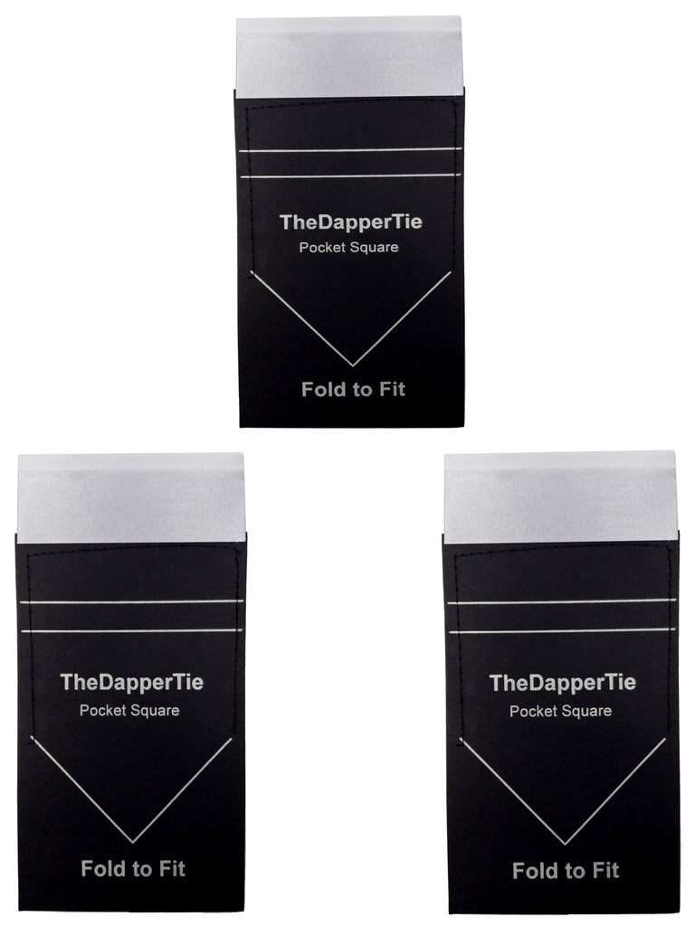 TheDapperTie - Men's 3 Pc Flat White Duo Pre Folded Pocket square Set
