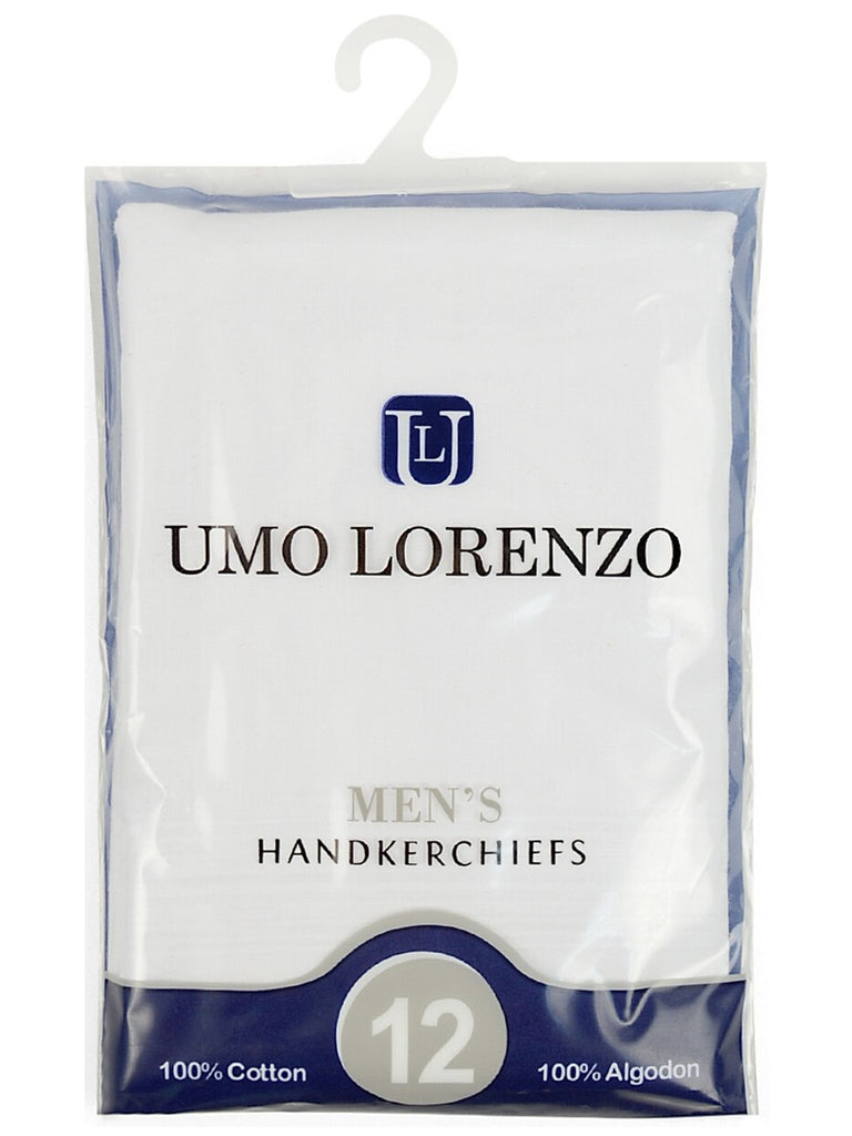 Men's White 100% Cotton Soft Finish Handkerchiefs