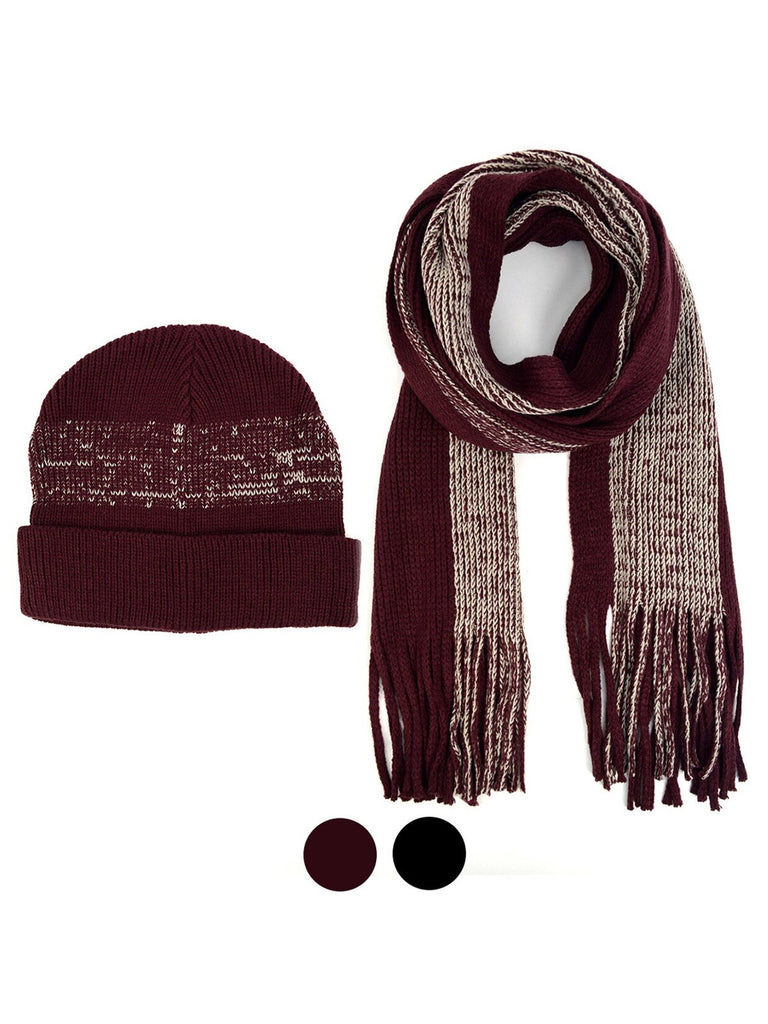 Men's 100% Acrylic Knit Scarf and Hat Set