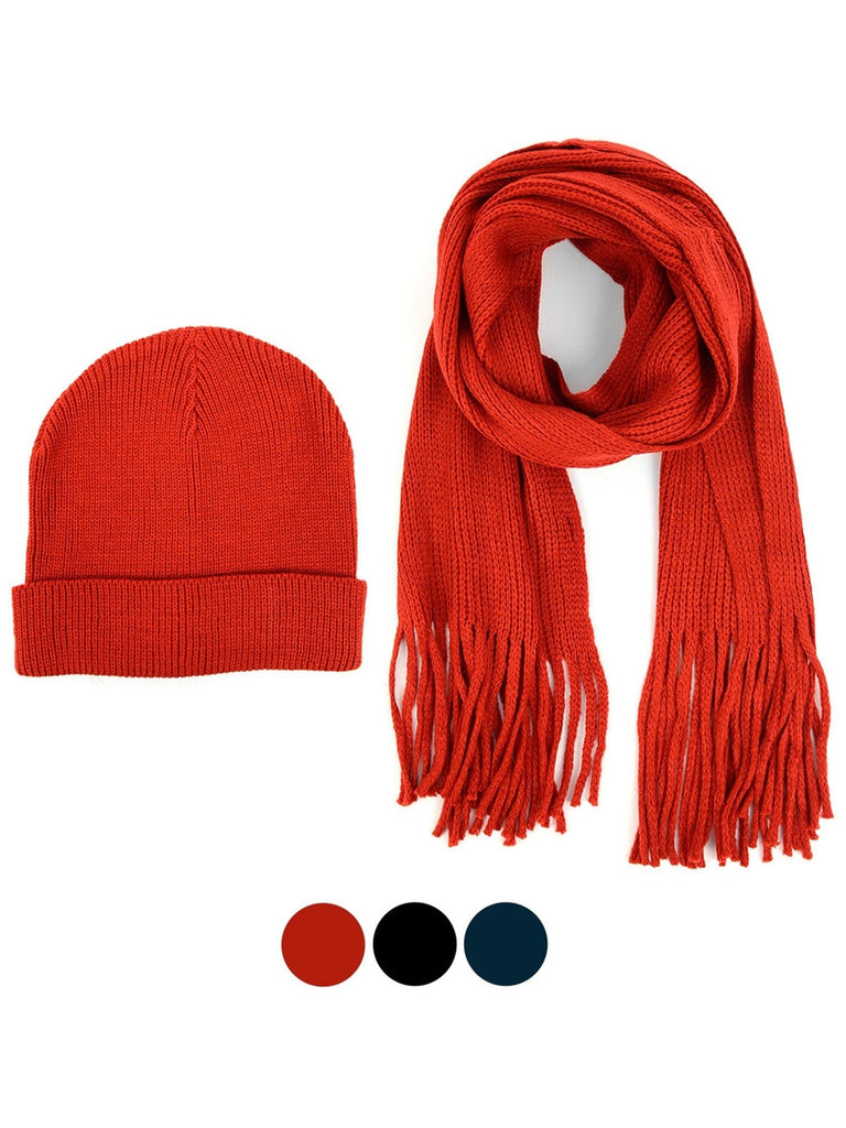 Men's Acrylic Knit Scarf and Hat Set