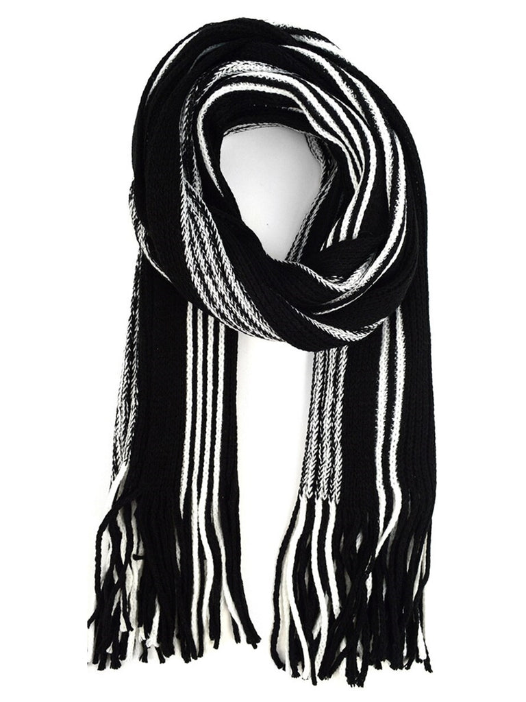 100% Acrylic Knit Striped Scarf and Hat Set