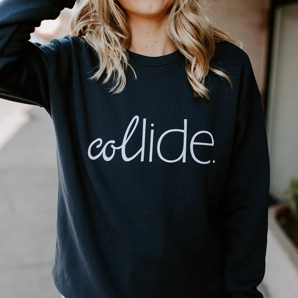 Collide Navy Blue Crew Neck Sweatshirts