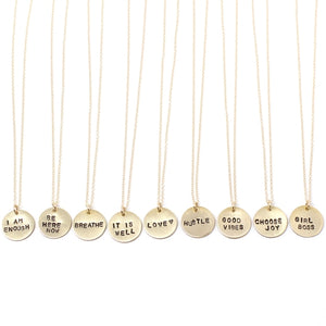 Stamped Tiny Phrase Necklaces