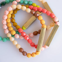 Colorful Bead + Brass Bracelet