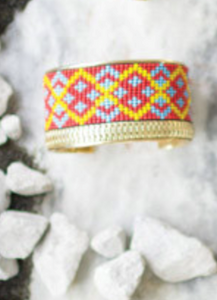 Collide Antique Brass Beaded Cuff Bracelets (6 Designs)