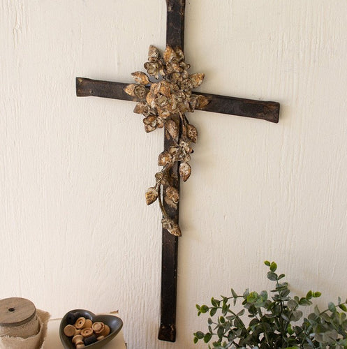 Flower Metal Wall Cross