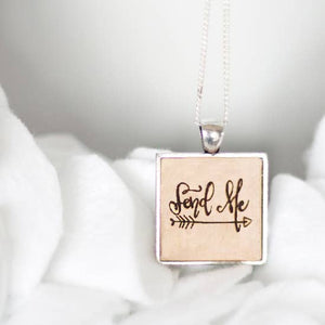 Inspirational Wooden Charm Necklace