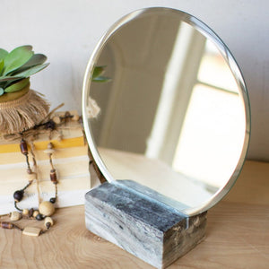 Tabletop Mirror with Grey Marble Base